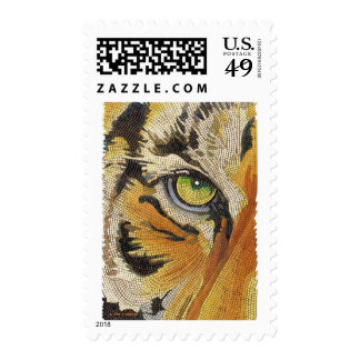 """Tiger Tiles"" Tiger Face Mosaic Watercolor Postage Stamp"