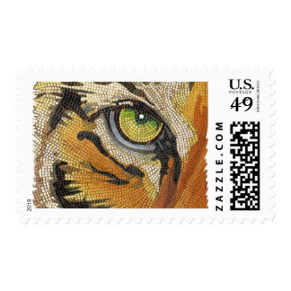"""Tiger Tiles"" Tiger Face Mosaic Watercolor Postage"