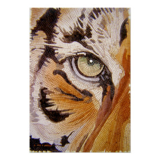 """Tiger Tiles"" Tiger Face Mosaic Watercolor Poster"