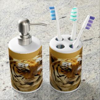 Tiger Toothbrush Holder and Soap Dispenser Set