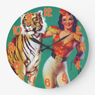 Tiger Trainer Pin-Up Girl Clock
