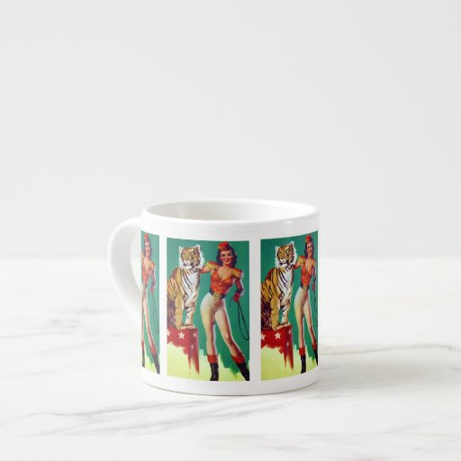 Tiger Trainer Pin-Up Girl Espresso Mugs