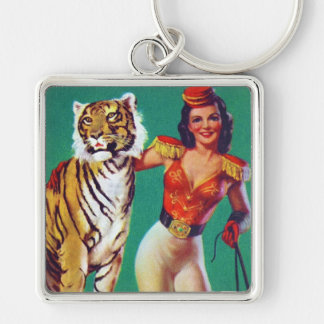 Tiger Trainer Pin-Up Girl Silver-Colored Square Keychain