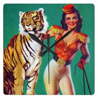 Tiger Trainer Pin-Up Girl Square Wallclocks