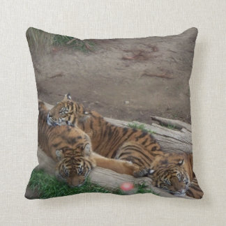 Tiger Triplets Throw Pillow