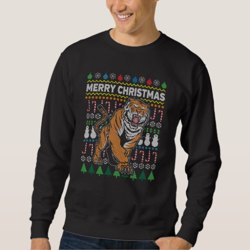 Tiger Ugly Christmas Sweater Wildlife Series After Christmas Sales 2571