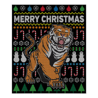 Tiger Ugly Christmas Sweater Wildlife Series Poster