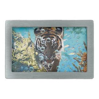 Tiger under water fantasy animal nature belt buckle