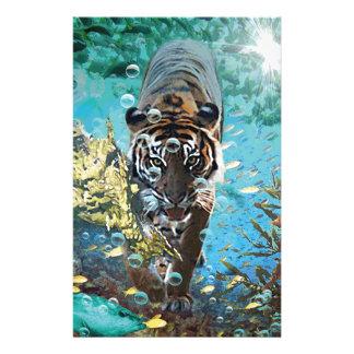 Tiger under water fantasy animal nature stationery