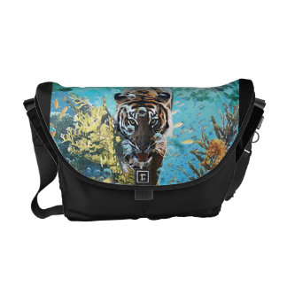 Tiger under water messenger bag fantasy