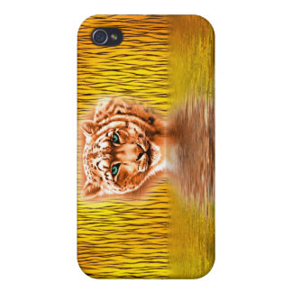 Tiger Upon Reflection with big cat reflection Cover For iPhone 4