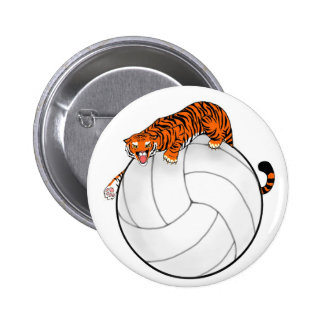 Tiger Volleyball Button Pin