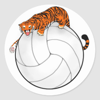 Tiger Volleyball Round Sticker