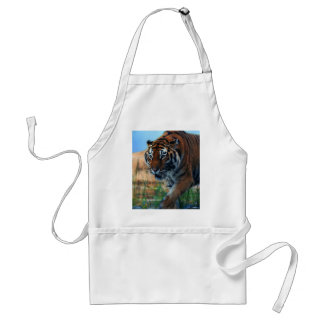 Tiger wading in water adult apron