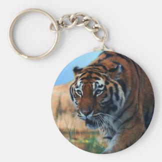 Tiger wading in water basic round button keychain