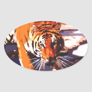 Tiger Walking Oval Sticker