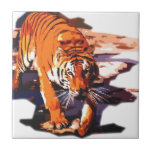 Tiger Walking Small Square Tile