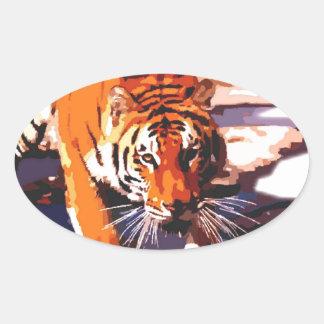 Tiger Walking Oval Sticker