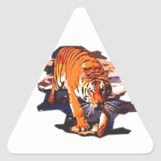 Tiger Walking Triangle Stickers