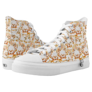 Tiger Watercolor Faces Pattern High-Top Sneakers