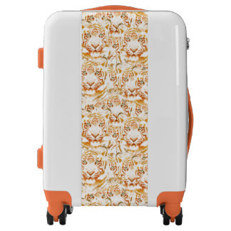 Tiger Watercolor Faces Pattern Luggage
