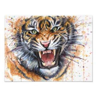 Tiger Watercolor Painting Photo Print