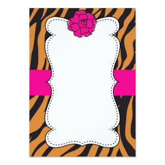 "Tiger Wild Cat Animal Print Pink Invitation 5"" X 7"" Invitation Card"