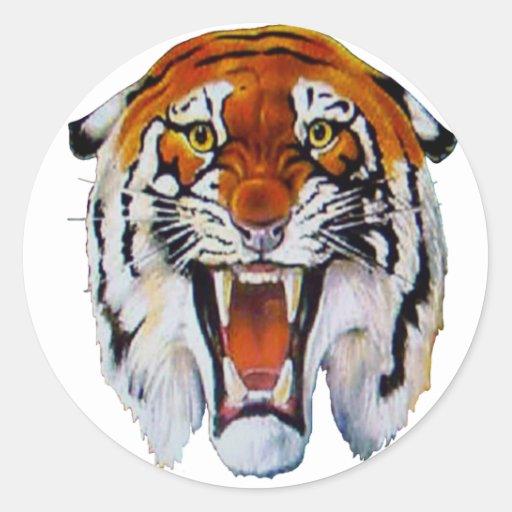 Tiger wild cat fierce sharp teeth thangs classic round sticker