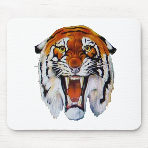 Tiger wild cat fierce sharp teeth thangs mouse pad