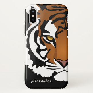 Tiger, Wild Cat on Black iPhone X Case