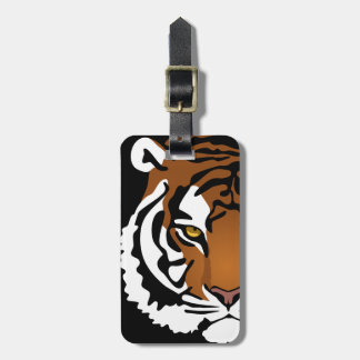 Tiger, Wild Cat on Black Luggage Tag