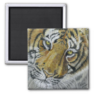 Tiger Wildlife Art Necklace 2 Inch Square Magnet