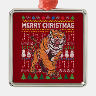 Tiger Wildlife Merry Christmas Ugly Sweater Metal Ornament