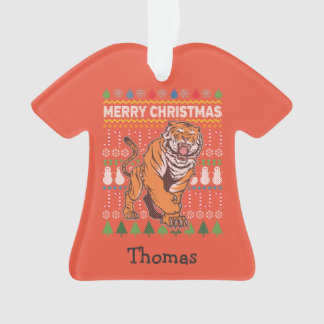 Tiger Wildlife Merry Christmas Ugly Sweater Ornament