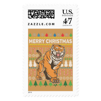 Tiger Wildlife Merry Christmas Ugly Sweater Postage Stamp