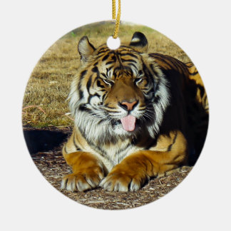 Tiger with a 'tude ceramic ornament