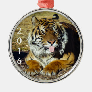 Tiger with a 'tude metal ornament
