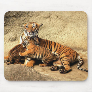 Tiger with babies mouse pad