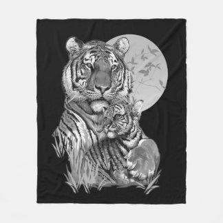 Tiger with Cub (B/W) Fleece Blanket
