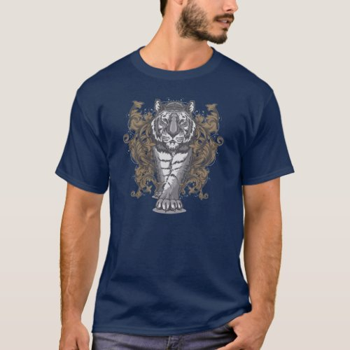 Tiger with Floral Art Deco Men Basic Dark T_Shirt
