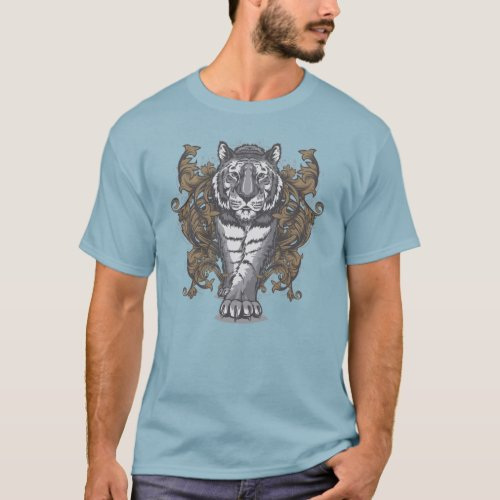 Tiger with Floral Art Deco Men Basic Dark T_Shirt