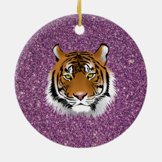 Tiger with Glitter Background Ceramic Ornament