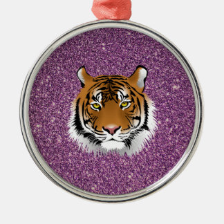 Tiger with Glitter Background Metal Ornament