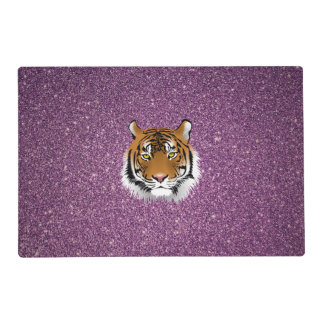 Tiger with Glitter Background Placemat