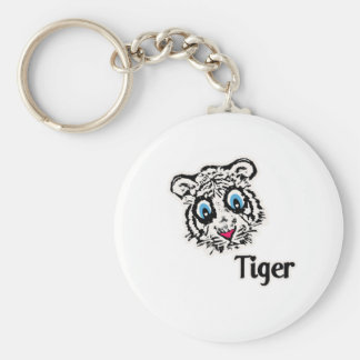 Tiger with Hearts Keychain