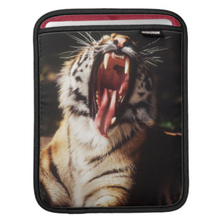 Tiger with mouth open iPad sleeve