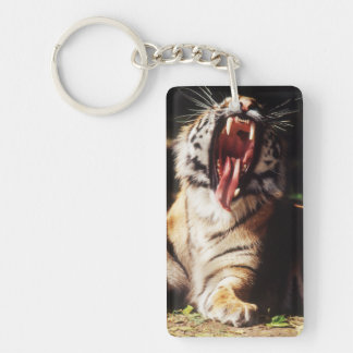 Tiger with mouth open keychain