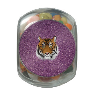 Tiger with Purple Background Jelly Belly Candy Jars