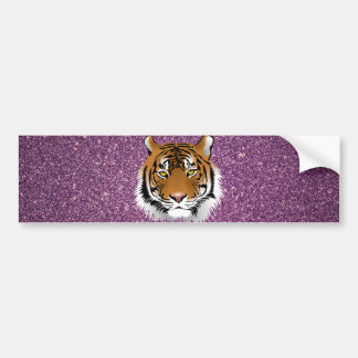 Tiger with Purple Glitter Background Bumper Sticker