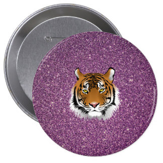 Tiger with Purple Glitter Background Button